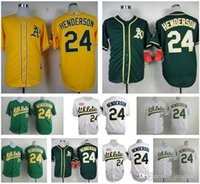 Wholesale Oakland Athletics Jersey Rickey Henderson Jersey Gray White Green Yellow Throwback Jerseys size small s xl top quality Good