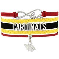 arizona bracelet - Custom Infinity Love Arizona State Cardinals Football Bracelet Wax Cords Braided Leather Adjustable Bracelet For Football Fans Drop Shipping
