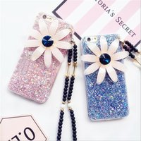 beaded plastic cover - TPU D Flower Glitter Powder Phone Cases Back Case Cover iPhone s Plus s Plus with Beaded Chain