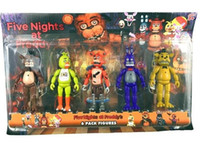 Wholesale 10sets Five Nights At Freddy s fnaf Freddys cm figure With Lighting PVC Action Figures Toys Foxy Freddy Fazbear Bear Doll set
