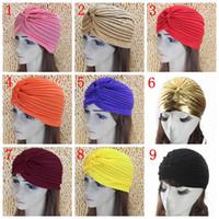 bandana fabric - 2016 new Hats Beanies Soild Stretch Bandana Unisex Indian Stretchable Turban Beanies Lady Girl Birthday Evening Party Bonnet Headwear FS