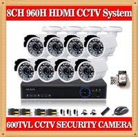 al por mayor circuito cerrado de televisión de cámara de 8 canales zmodo-sistema de vigilancia 8channel CIA- completa 960H circuito cerrado de televisión de vídeo de 8 PC 600TVl kit de la cámara de DVR 8ch interior al aire libre HDMI 1080P para la seguridad Zmodo