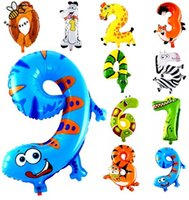 Wholesale 1Pcs inch Animal Number Foil Inflatable Balloons Wedding Happy Birthday Decoration Air Balloons Party Balloon Children s Gifts