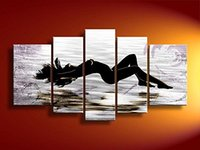 Wholesale Hand Painted Beauty Sea Beach Abstract Nude Women Stretched Framed Panels Canvas Oil Painting Ready to Hang