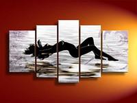 al por mayor lona estirada-Pintado a mano belleza mar playa resumen mujeres desnudas estirado enmarcado 5 paneles lienzo pintura al óleo listo para colgar