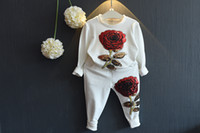 baby chothes - Girl Hip Hop Set Fashion Autumn Children Clothing Long Sleeve Shirts Pants Sequin Rose Flowers Baby Sport Suit Chothes