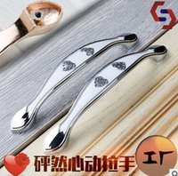 Wholesale Zinc Alloy Antique Kitchen Drawer Furniture Pulls Shiny Heart Pattern Chrome Color Handles and Knobs
