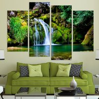 abstract nature pictures - 4panel Nature scenery waterfall trees painting home decoration canvas art wall hanging picture no frame