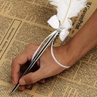 Wholesale 1pc Ostrich Feather White Ballpen Book Signing Pen Bowknot Ballpoint Pen For Wedding Party