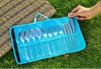 Wholesale 1pc pink Rectangle portable tableware bag Dinnerware bag For Outdoor Camping