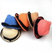 Wholesale spring autumn straw hats or caps children Sun helmet Children s hat cats ear shaped caps for children travel
