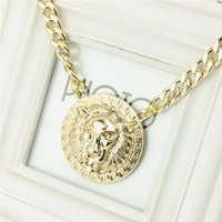 african white lions - X133 foreign trade jewelry sales fashionable metal exaggerate lion head alloy necklace