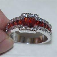band garnet ring - Fashion Silver Rings Square Diamond Simulated Zirconia Garnet Gemstone Engagement Weddiing Anniversary Band Jewelry for Men Women
