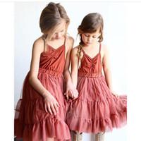 american red wine brands - INS Baby Girls dress summer children wine red suspender tulle tutu dress kids V neck princess dress Girls party dress children clothes A9213
