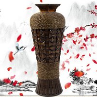 Bamboo & Wooden bamboo floor vases - Retro China style bamboo vase wide mouth furniture jewelry gift