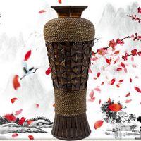 achat en gros de vase en porcelaine-Retro Chine style bambou vase large bouche meubles bijoux cadeau