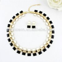 Wholesale Turkish Jewelry Sets Collares Blue Black Statement Enamel Necklace and Drop Earrings Designer for Women