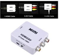al por mayor vga digital-HDMI convertidor HDMI a AV RCA convertidor analógico digital HDMI a AV venta directa de fábrica de vídeo de audio HDMI2AV 1080P libre del envío de DHL