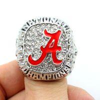 alabama crimson tide basketball - Hot Alabama Crimson Tide National Championship Ring Enamal Crystal Gold Pleated Ring Male basketball fans fans ring as a gift