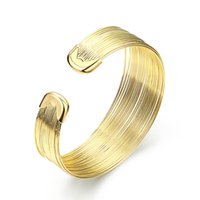 Cheap Gold Plated Punk MultiLayer Iron Wire Circle Cuff Bangles Elegant Bracelet Nickle Free Antiallergic Jewelry for Girls Women Christmas Gift