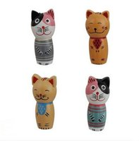 bali decorations - Zakka Wooden Bali Cat D Fridge Magnets set Cute Cartoon Magnet Refrigerator Home Decoration