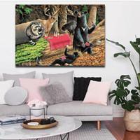 1 Combinación de imagen juego osos en quebrado Árbol que pinta arte de la pared del bosque en la lona Fotos de animales para la decoración casera