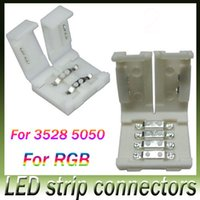 Wholesale led strip connectors for mm and mm smd and pin DC RGB LED strips light no welding quick led