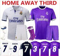 Wholesale 2016 Madrid Soccer Sets James Serigo Ramos Bale Real Madrid Jersey Kroos Ronaldo Jerseys Kits Uniform With Short Socks