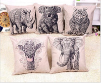 giraffe print - High quality elephants rhino owl giraffes Printed cotton and linen cushion pillow Contains no pillow core