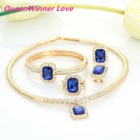 asian braceletes - Light Blue Stone White Crystal K High Gold Plated Jewelry Sets Necklace Braceletes Earing Ring Fashion Jewelry Sets For Women QW26