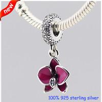 achat en gros de gros orchidée pourpre-Convient Pandora Bracelets Orchid argent Charms avec émail pourpre d'origine 100% 925 Perles en argent sterling bricolage gros bijoux 232