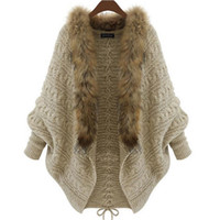 Wholesale Plus size Autumn Winter Women Long Sweaters open stitch solid Loose Warm Knitted Cardigans Casual Knitted Sweater for women