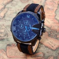 big d band - New Ariival Men watch with Calendar big Dial Blue Mirror Glass Fashion Brand D Z Leather Band Quartz Luxury Wrist Watch for Mens