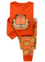 Wholesale girls boys kids clothing sets suits children pajamas age cotton Long sleeves fashion kids sleepwear garfield