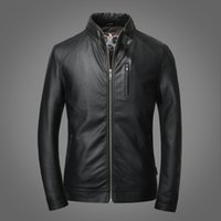 best price casual jacket men - Fall Sell Chinese Brand Qualify Pilot Leather Jacket Stand Collar Zip Up Plus Size Business Casual Leather Jacket Racer Best PRice
