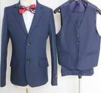 Wholesale Two Button Boy Tuxedos Notch Lapel Children Suit Black Wedding Prom Suits Jacket Pants Vest Boy s Formal Wear