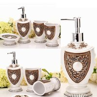 Wholesale European Royal Bath Ensemble Bathroom Accessory Set Lotion Dispenser Toothbrush Holder Soap Dish Bathroom Accessories