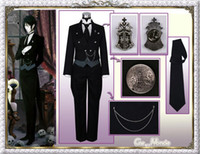 Wholesale Sebastian Anime - Japanese Cartoon Anime Black Butler Kuroshitsuji Sebastian Michaelis Cosplay Tailcoat + vest + shirt + pants + gloves + badge + chain