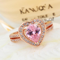Wholesale Rose Gold Plated Ring Female Sapphire Jewelry Silver Pink Topaz Rings Accessorie For Jewelry Bague En Argent Femme RJ016