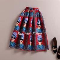 beauty empire waist - New European and Summer Style Ladies Fashion Modern beauty Character Print Skirt High Waist Pleated Midi Skirt saia longa plissada