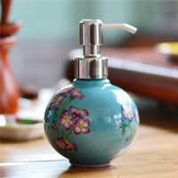 ball dispenser - 320ml Ball shape Hand Painted Ceramic liquid soap dispenser single hande soap dispenser bottle decoration porcelain soap Dispenser bottle