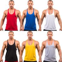 Wholesale 7 colors Men tank tops cotton solid color fine condole belt deep V active sexy muscle gym tank