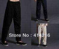 Wholesale High quality cotton amp linen man tang kung fu martial arts Taichi trousers pants for men colors black dark blue beige white