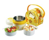 Cheap Stainless Steel Vacuum Insulated Lunch Box Food Jar for Kids with Carry Lunch Tote Bag for School Picnic Blue Yellow 600 ml