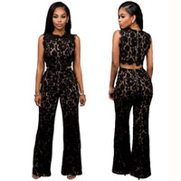 Wholesale High Quality Sexy Women Lace Embroidery Sleeveless Long Jumpsuit Cut Out Back Zipper Rompers Hot Sale Fashion Plus Size Bodysuit WE70272