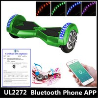 Wholesale Phone APP UL2272 Certification quot Two Wheels Hoverboard Bluetooth Music Player Self Balancing Scooter Electric Skateboard Smart LED Scooter