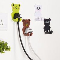 bathroom plug socket - 2Pcs Plastic Cartoon Animal Plug Power Socket Wall Adhesive Hooks Door Hanger Organizer Plastic Holder