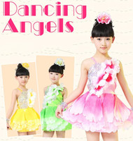 Wholesale 20pcs New Big Petals Sling Strapless Princess Dress Children Performance Clothing Latin Ballet Dancewear color