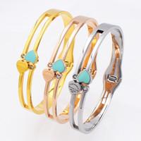 Wholesale 3 Styles Design Luxury Brand Bracelet Womens Stainless Steel Heart Zircon Bracelet Bangle For Women Jewelry Wedding Bracelet