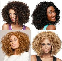 american volume - New Short wigs For African American Black Women Curl Kanekalon Fiber U Part Wig Natural Curly Wig Small Volume Explosion Wig